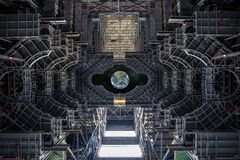 Weergeven van de aarde van een Ruimtevaartuig Elementen van dit die beeld door NASA wordt geleverd stock fotografie