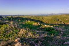 Weergeven van de bergen en de heuvel in de lente Bergen van Kazachstan royalty-vrije stock afbeelding