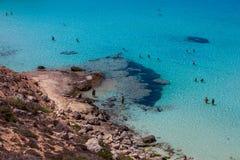 Weergeven van de beroemdste overzeese plaats van Lampedusa, Spiaggia-deiconigli stock afbeeldingen