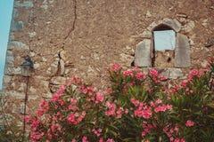 Weergeven van de binnenkant van Himara-Kasteel, Albanië royalty-vrije stock foto