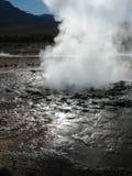 Weergeven van de geiser op het plateau van Gr Tatio stock afbeelding