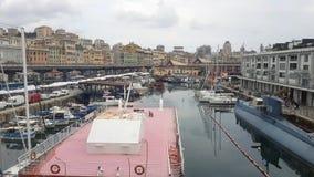 Weergeven van de haven in Genua stock video