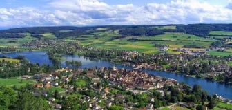 Weergeven van de Historische Stad van Stein am Rhein, Zwitserland stock afbeeldingen