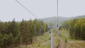 Weergeven van de lift in de bergen Langste pijnboom De sneeuw valt
