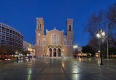Weergeven van de Metropolitaanse Kathedraal van de Aankondiging, de Griekse Orthodoxe kathedraal van Athene stock afbeelding