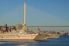 Weergeven van de schepen en de Gouden brug van de Vladivostok-overzeese post stock foto
