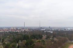 Weergeven van de Stad van Leipzig van Monument aan de Slag van de Naties stock foto's