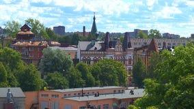 Weergeven van de stad van Vyborg van de hoogte van vogelvlucht