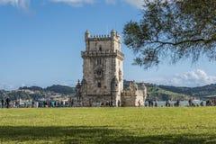 Weergeven van de toren van Belem van de voortuinen royalty-vrije stock afbeelding