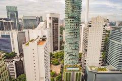 Weergeven van de wolkenkrabbers in Kuala Lumpur, Maleisië stock fotografie