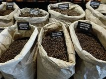 Weergeven van een groep zakken met koffiebonen, binnen een koffiewinkel stock afbeeldingen