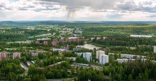 Weergeven van havenstad van Kuopio, Finland stock afbeelding