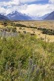 Weergeven van het alpiene hooggebergte en het plateau van Onderstel Cook National Park stock fotografie