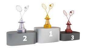 Weergeven van van het Badminton Gouden Zilver en Brons Trofeeën in Oneindige Omwenteling op Podium royalty-vrije illustratie