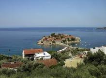 Weergeven van het eiland van St Stephen Montenegro royalty-vrije stock foto's