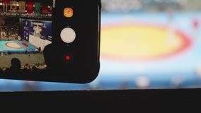 Weergeven van het maken van video van competities op gevechtssambo stock footage