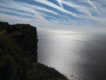 Weergeven van het overzees van Soubeyranes-klippen, het Nationale Park van Calanques, bouches-du-RhÃ'ne, Provence-Alpes-CÃ'te D ' stock fotografie