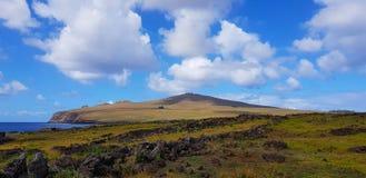 Weergeven van het Pasen-Eilandlandschap, Pasen-Eiland, Chili stock fotografie