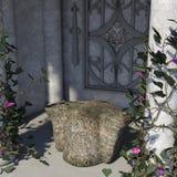 Weergeven van het plechtige altaar dat door kolommen en bloemen wordt omringd vector illustratie