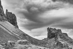 Weergeven van het Quiraing-landschap, Eiland van Skye stock foto