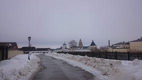 Weergeven van het stad-eiland Sviyazhsk in de winter royalty-vrije stock afbeeldingen