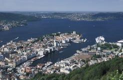 Weergeven van het stadscentrum van Bergen, Noorwegen royalty-vrije stock afbeeldingen