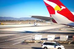 Weergeven van het tarmac bij de Internationale Luchthaven van Los Angeles stock afbeelding