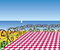 Weergeven van het terras aan het overzeese strand stock illustratie