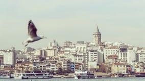 Weergeven van Istanboel met Galata-Toren bij horizon van Eminonu stock afbeeldingen