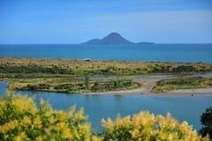 Weergeven van Moutohora-Eiland in ver van Puketapu-Vooruitzicht bij Whakatane-stad in Nieuw Zeeland royalty-vrije stock fotografie