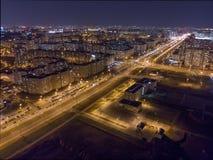 Weergeven van nacht Minsk, Wit-Rusland stock foto's