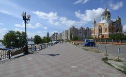 Weergeven van Obolonskaya-promenade, Kiev, de Oekraïne stock fotografie