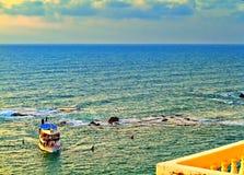 Weergeven van oude Jaffa aan de Middellandse Zee royalty-vrije stock afbeeldingen