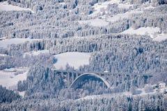 Weergeven van Pak aan autobahna2 brug in de wintersprookjesland stock afbeeldingen