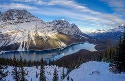 Weergeven van Peyto-Meer in het Nationale Park van Banff stock foto