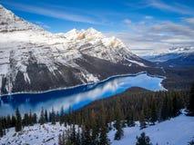 Weergeven van Peyto-Meer in het Nationale Park van Banff stock afbeeldingen
