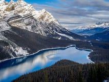 Weergeven van Peyto-Meer in het Nationale Park van Banff royalty-vrije stock fotografie