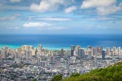 Weergeven van Waikiki-district van Tantalus-vooruitzicht, Oahu stock afbeeldingen