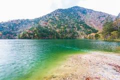 Weergeven van Yuno-Meer in de herfstseizoen bij het nationale park van Nikko, Nikko royalty-vrije stock foto
