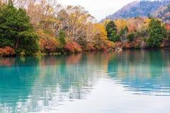 Weergeven van Yuno-Meer in de herfstseizoen bij het nationale park van Nikko, Nikko royalty-vrije stock afbeelding