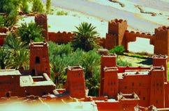Weergeven vanaf de bovenkant van Ajt-Bak Haddu, Morroco stock afbeelding