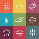 Weerpictogrammen op uitstekende kleurrijke tegelsachtergrond Stock Foto