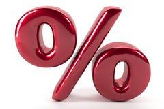 Weerspiegeld percenten rood teken op witte achtergrond Royalty-vrije Stock Afbeelding