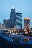Weerspiegelde de gebouwen van Cleveland royalty-vrije stock afbeelding
