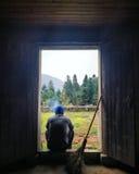 Weerspiegelende landbouwer Stock Foto's