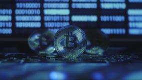 Weerspiegeling van binaire code inzake bitcoinmuntstukken Mijnbouw van crypto-munten Mijnbouwlandbouwbedrijf op inkomens van cryp stock footage