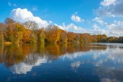 Weerspiegeling van de herfstkleuren royalty-vrije stock foto's