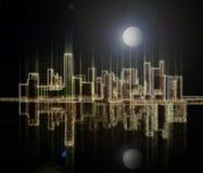 Weerspiegeling van licht van een nachtmegastad op een waterspiegel Stock Afbeeldingen