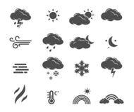 Weervoorspelling, de vastgestelde vector van het meteorologiepictogram Stock Fotografie