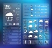 Weervoorspelling widget voor Web en mobiel ontwerp Stock Afbeeldingen